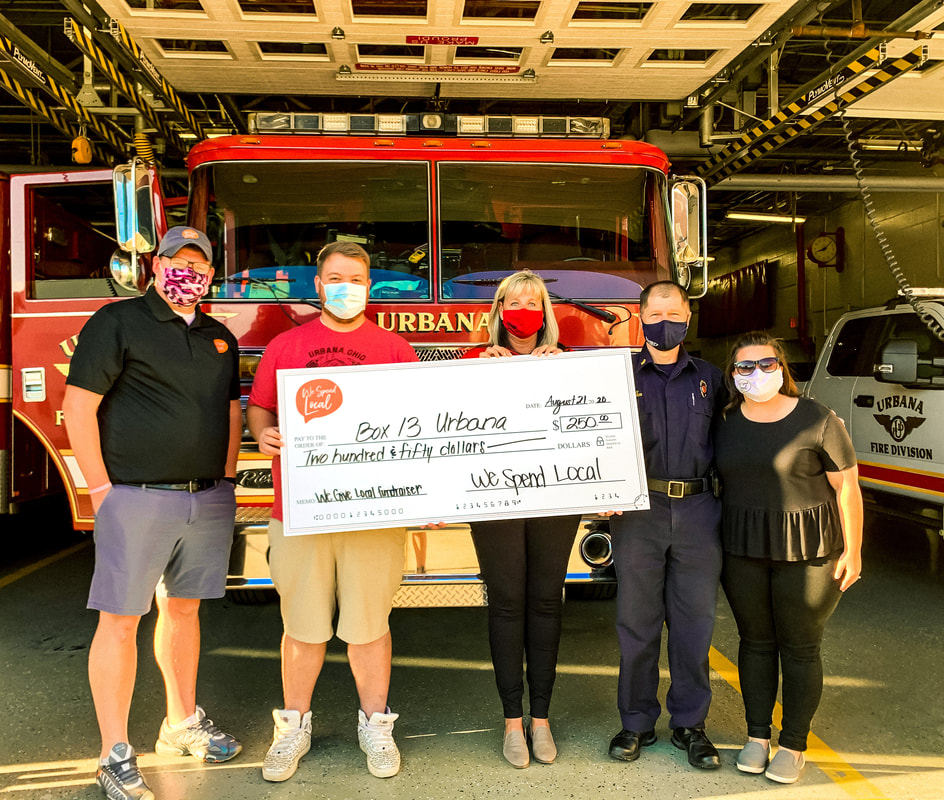 We Spend Local donates $250 to Box 13 thanks to local fundraiser. (From Left to Right: Ryan Berry, Adam Moore, Cheryl Wears, Chief Dean Ortlieb & Staci Wisma)