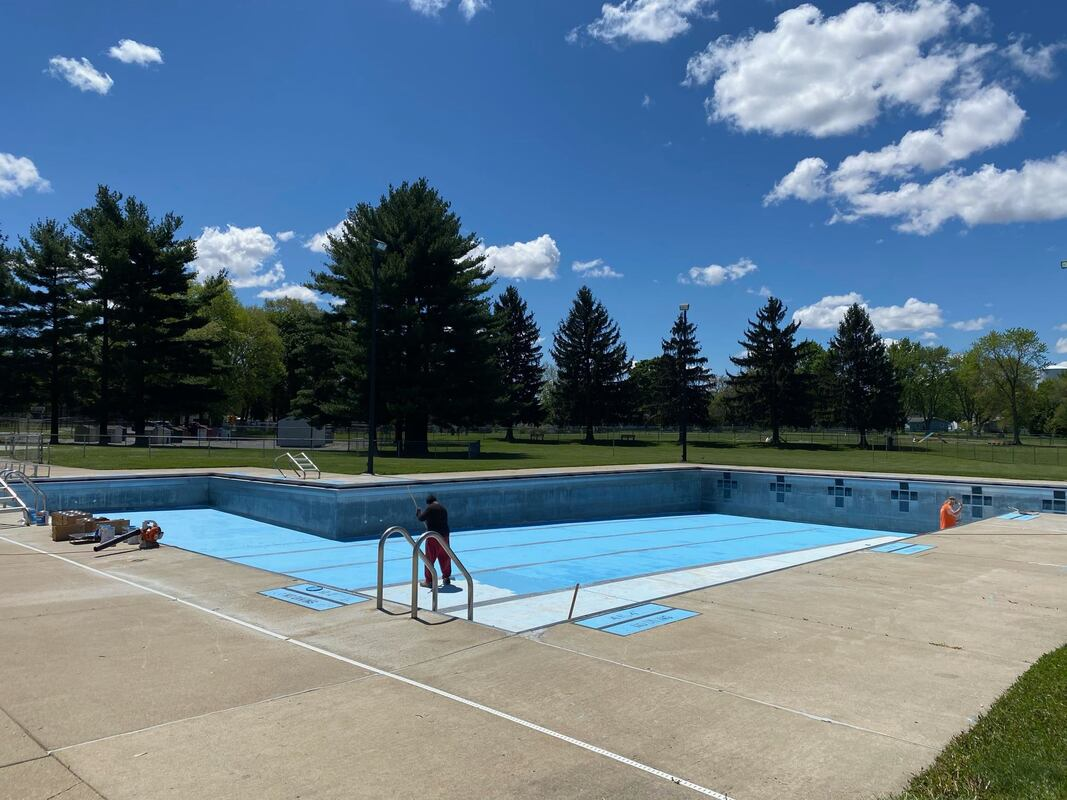 Urbana City Pool cleaned before opening later in May.