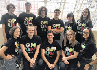 UHS participants were, front row, Jenny Zaborowski, Stephanie Selvaggio, Jacob Lattimer, Rachel DuLaney, Bree Stouffer, back row, Andrew Pickering, Logan Pence, Connor Hayslip, Patrick Karg, Alyssa Holland and Jocy Holtsberry.